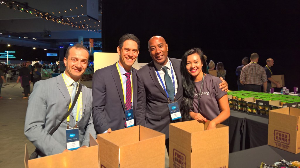 A good deed done...from left to right John Filippis, Robert Keast, Larry Vidal and Pamela from Salesforce